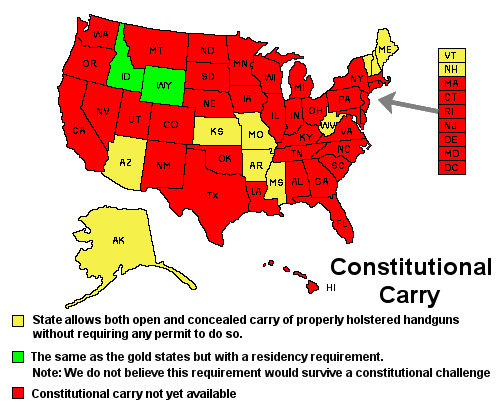 Constitutional Carry Opencarryorg: States With Open Carry Map At Usa Maps